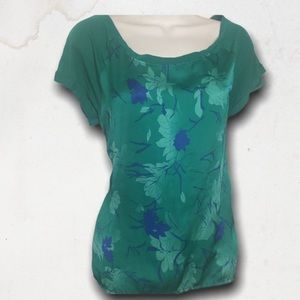 Green Floral Shiny Short Sleeves Top